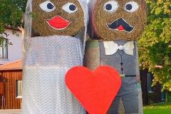 Stroh-Brautpaar-Herz